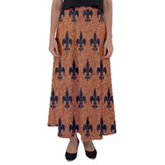Royal1 Black Marble & Rusted Metal (r) Flared Maxi Skirt