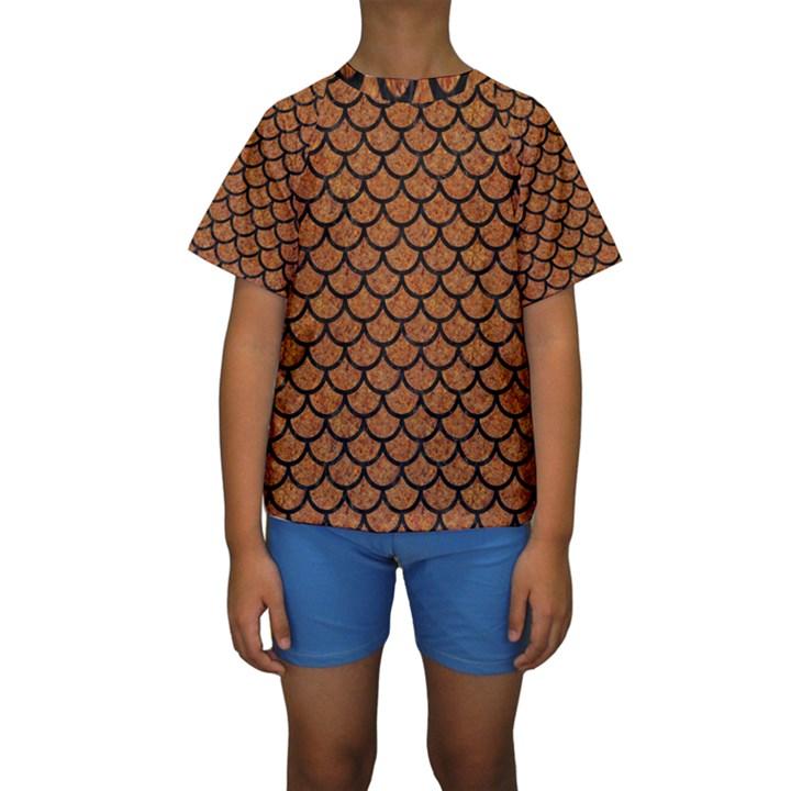 SCALES1 BLACK MARBLE & RUSTED METAL Kids  Short Sleeve Swimwear