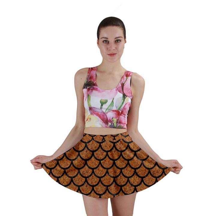 SCALES1 BLACK MARBLE & RUSTED METAL Mini Skirt