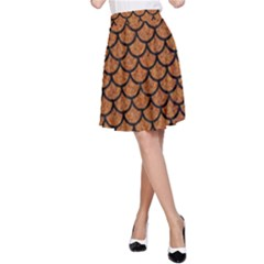 Scales1 Black Marble & Rusted Metal A Line Skirt