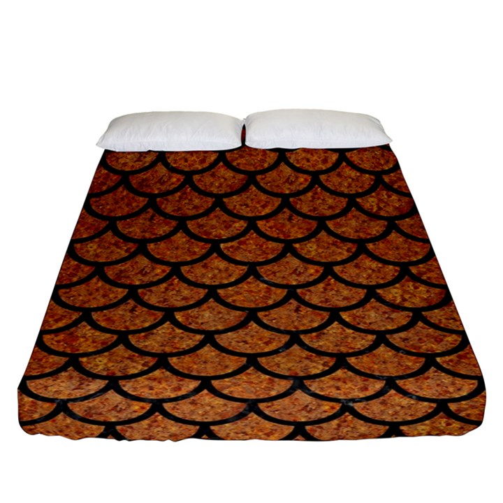 SCALES1 BLACK MARBLE & RUSTED METAL Fitted Sheet (Queen Size)