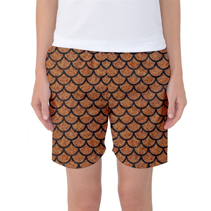 SCALES1 BLACK MARBLE & RUSTED METAL Women s Basketball Shorts
