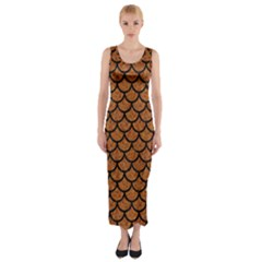 Scales1 Black Marble & Rusted Metal Fitted Maxi Dress by trendistuff