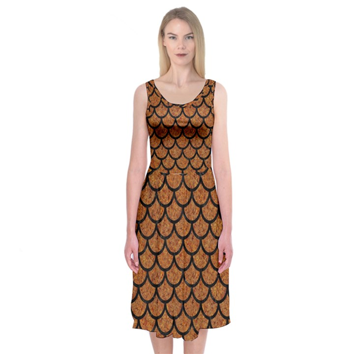 SCALES1 BLACK MARBLE & RUSTED METAL Midi Sleeveless Dress
