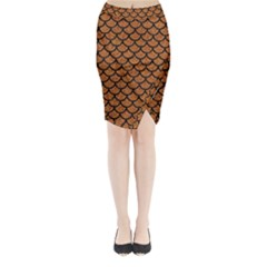 Scales1 Black Marble & Rusted Metal Midi Wrap Pencil Skirt