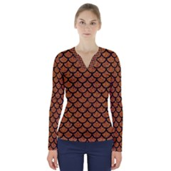 Scales1 Black Marble & Rusted Metal V Neck Long Sleeve Top by trendistuff