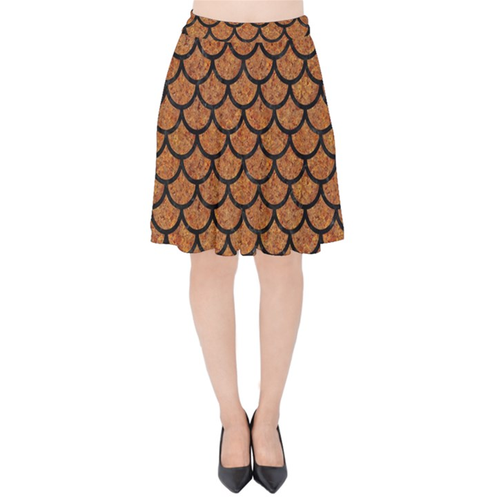 SCALES1 BLACK MARBLE & RUSTED METAL Velvet High Waist Skirt