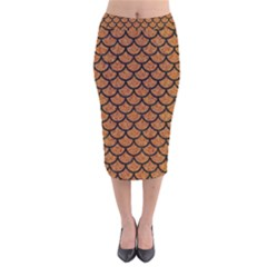Scales1 Black Marble & Rusted Metal Velvet Midi Pencil Skirt by trendistuff