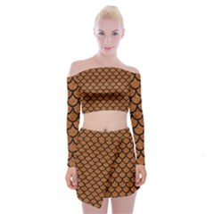 Scales1 Black Marble & Rusted Metal Off Shoulder Top With Mini Skirt Set by trendistuff