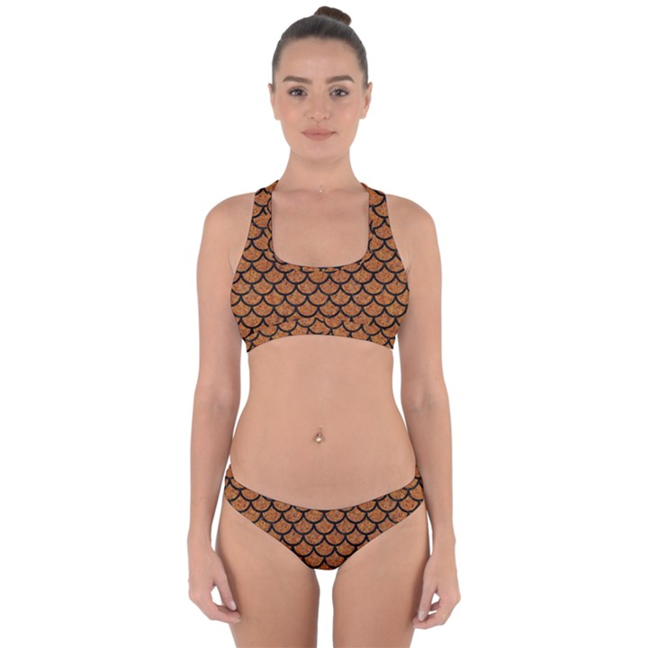SCALES1 BLACK MARBLE & RUSTED METAL Cross Back Hipster Bikini Set