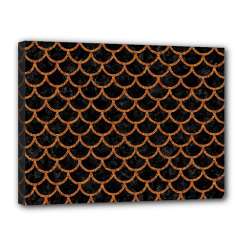 Scales1 Black Marble & Rusted Metal (r) Canvas 16  X 12