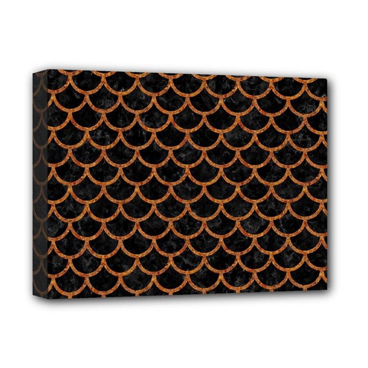 SCALES1 BLACK MARBLE & RUSTED METAL (R) Deluxe Canvas 16  x 12