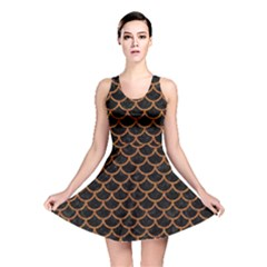 Scales1 Black Marble & Rusted Metal (r) Reversible Skater Dress by trendistuff