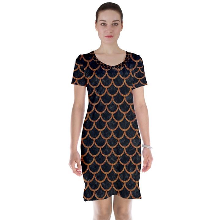 SCALES1 BLACK MARBLE & RUSTED METAL (R) Short Sleeve Nightdress
