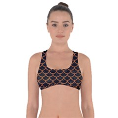Scales1 Black Marble & Rusted Metal (r) Got No Strings Sports Bra