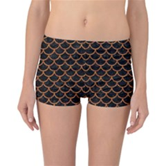 Scales1 Black Marble & Rusted Metal (r) Reversible Boyleg Bikini Bottoms
