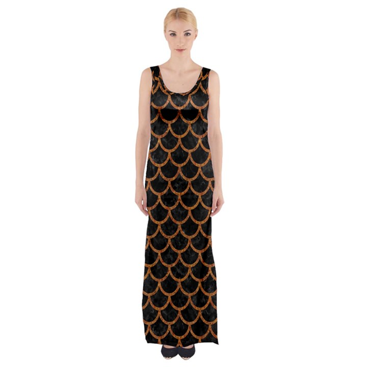 SCALES1 BLACK MARBLE & RUSTED METAL (R) Maxi Thigh Split Dress