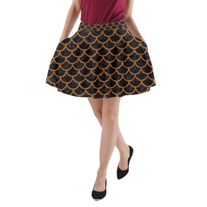 SCALES1 BLACK MARBLE & RUSTED METAL (R) A-Line Pocket Skirt