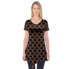 SCALES1 BLACK MARBLE & RUSTED METAL (R) Short Sleeve Tunic