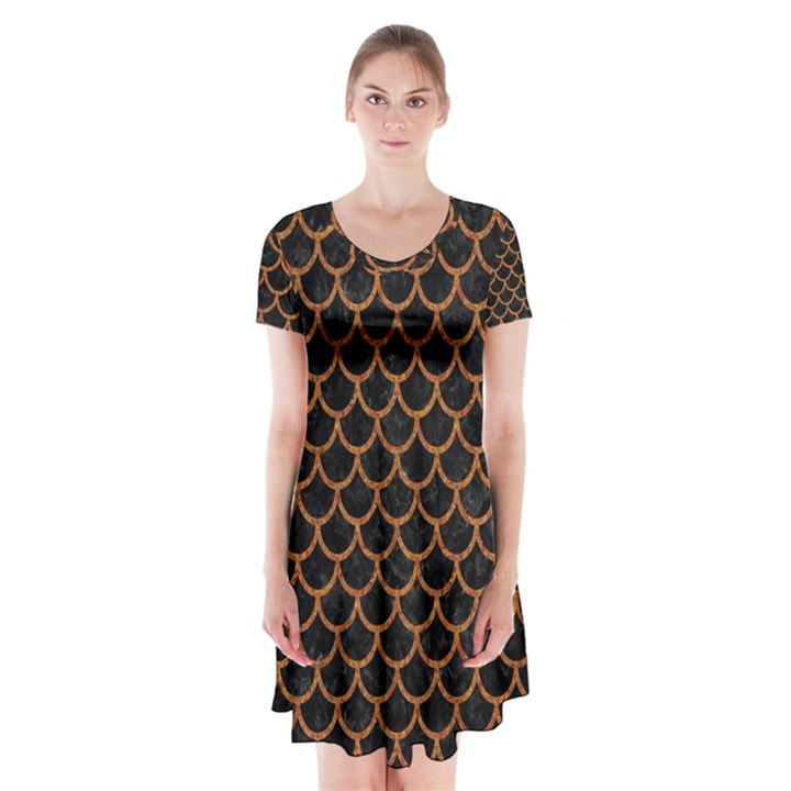 SCALES1 BLACK MARBLE & RUSTED METAL (R) Short Sleeve V-neck Flare Dress