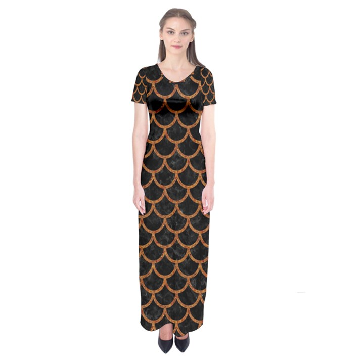 SCALES1 BLACK MARBLE & RUSTED METAL (R) Short Sleeve Maxi Dress