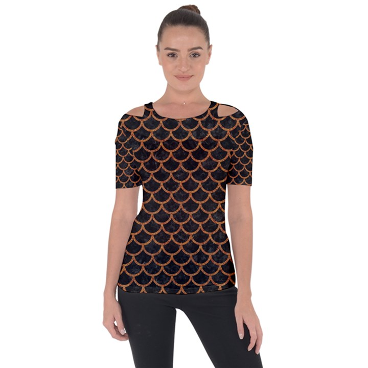 SCALES1 BLACK MARBLE & RUSTED METAL (R) Short Sleeve Top