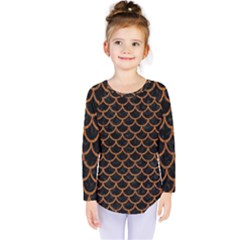 Scales1 Black Marble & Rusted Metal (r) Kids  Long Sleeve Tee