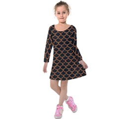 Scales1 Black Marble & Rusted Metal (r) Kids  Long Sleeve Velvet Dress by trendistuff