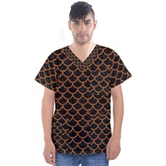 Scales1 Black Marble & Rusted Metal (r) Men s V Neck Scrub Top by trendistuff