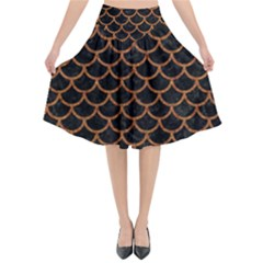 Scales1 Black Marble & Rusted Metal (r) Flared Midi Skirt