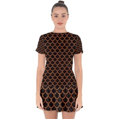 Scales1 Black Marble & Rusted Metal (r) Drop Hem Mini Chiffon Dress by trendistuff