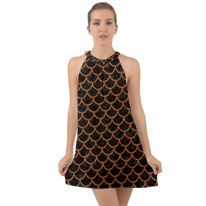 SCALES1 BLACK MARBLE & RUSTED METAL (R) Halter Tie Back Chiffon Dress
