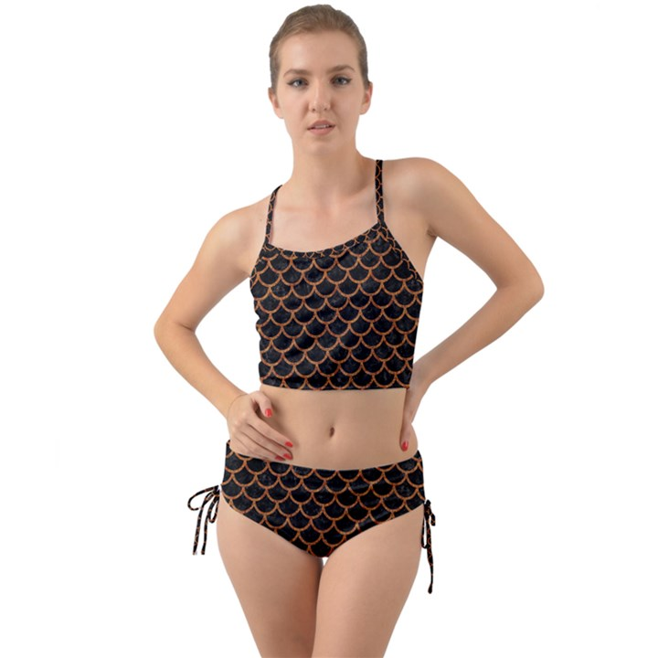 SCALES1 BLACK MARBLE & RUSTED METAL (R) Mini Tank Bikini Set