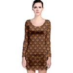 SCALES2 BLACK MARBLE & RUSTED METAL Long Sleeve Bodycon Dress