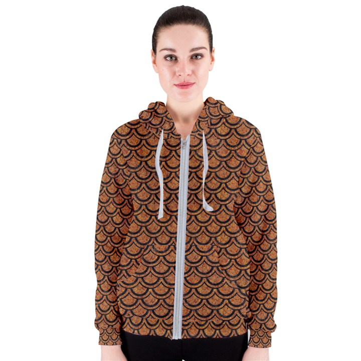 SCALES2 BLACK MARBLE & RUSTED METAL Women s Zipper Hoodie