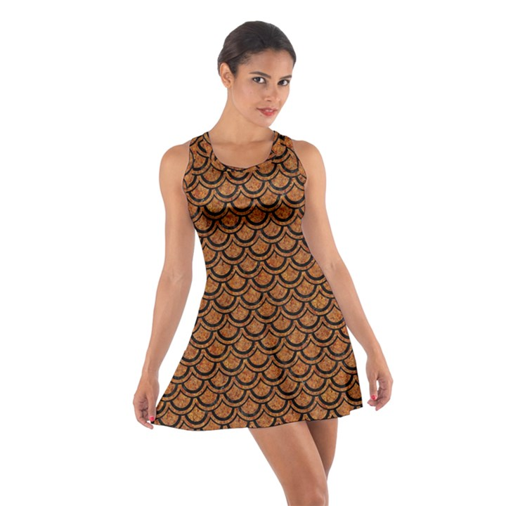 SCALES2 BLACK MARBLE & RUSTED METAL Cotton Racerback Dress
