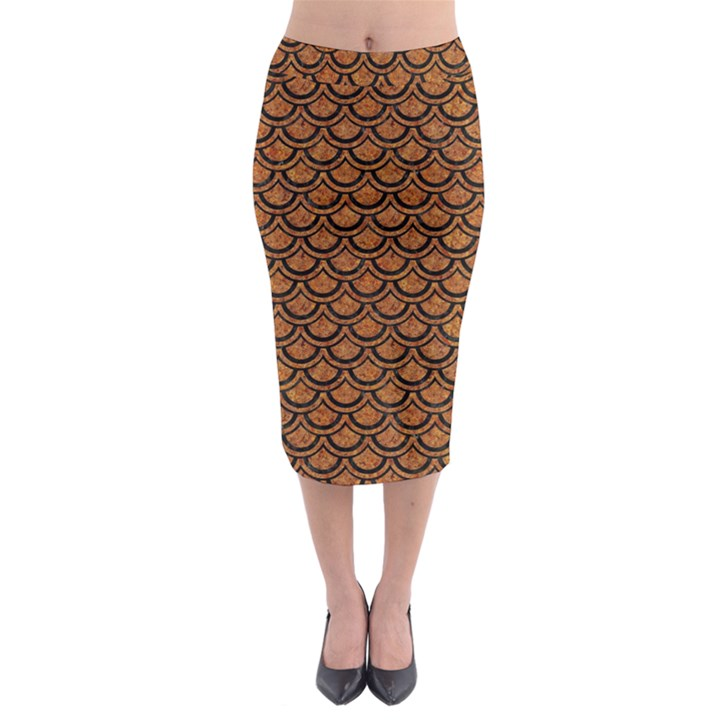 SCALES2 BLACK MARBLE & RUSTED METAL Midi Pencil Skirt
