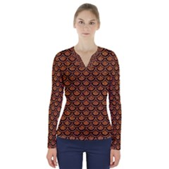 Scales2 Black Marble & Rusted Metal V Neck Long Sleeve Top by trendistuff