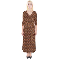 Scales2 Black Marble & Rusted Metal Quarter Sleeve Wrap Maxi Dress