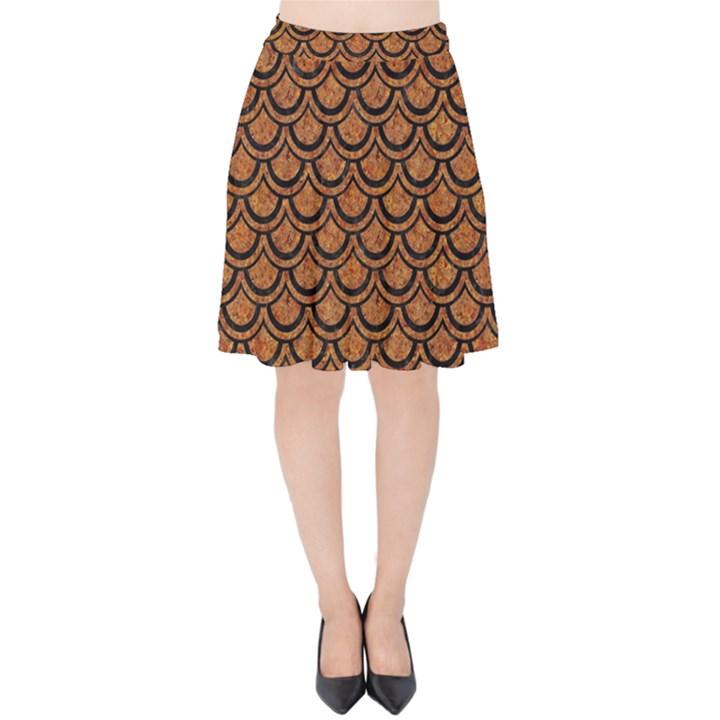 SCALES2 BLACK MARBLE & RUSTED METAL Velvet High Waist Skirt