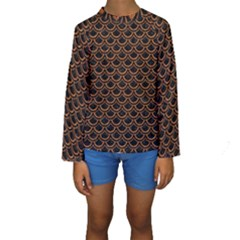 Scales2 Black Marble & Rusted Metal (r) Kids  Long Sleeve Swimwear