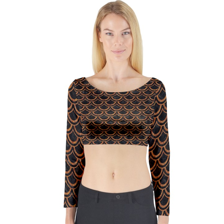 SCALES2 BLACK MARBLE & RUSTED METAL (R) Long Sleeve Crop Top