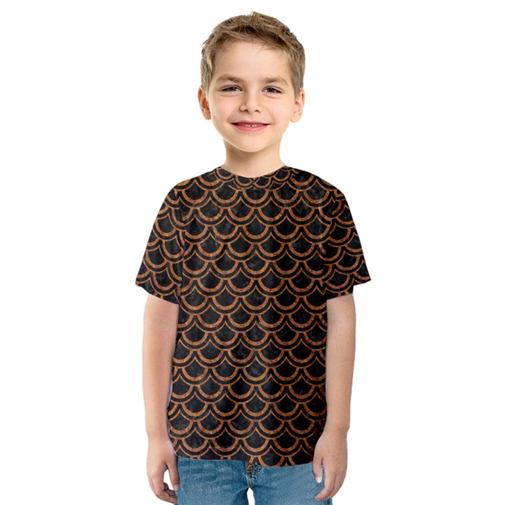SCALES2 BLACK MARBLE & RUSTED METAL (R) Kids  Sport Mesh Tee