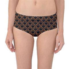 Scales2 Black Marble & Rusted Metal (r) Mid Waist Bikini Bottoms