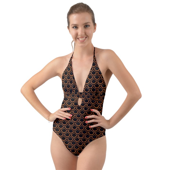 SCALES2 BLACK MARBLE & RUSTED METAL (R) Halter Cut-Out One Piece Swimsuit