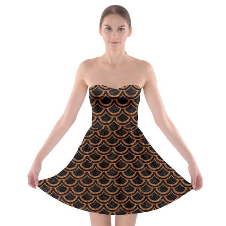 SCALES2 BLACK MARBLE & RUSTED METAL (R) Strapless Bra Top Dress