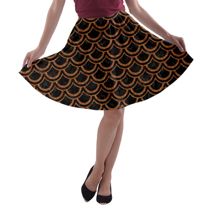 SCALES2 BLACK MARBLE & RUSTED METAL (R) A-line Skater Skirt
