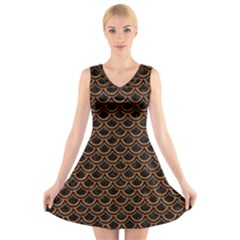 Scales2 Black Marble & Rusted Metal (r) V Neck Sleeveless Skater Dress