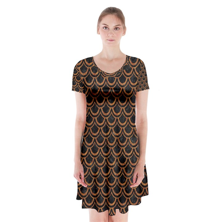 SCALES2 BLACK MARBLE & RUSTED METAL (R) Short Sleeve V-neck Flare Dress