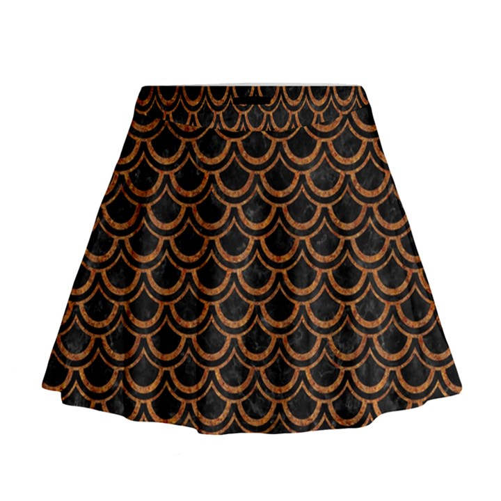 SCALES2 BLACK MARBLE & RUSTED METAL (R) Mini Flare Skirt
